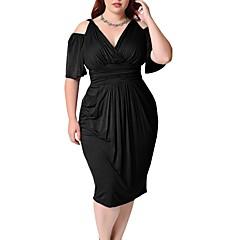 Damen Hülle Kleid Solide V-Ausschnitt