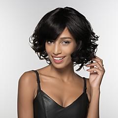billige Lågløs-Human Hair Capless Parykker Menneskehår Kinky Curly Afro-amerikansk paryk Side del Medium Maskinproduceret Paryk Dame