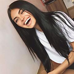 billiga Peruker och hårförlängning-Obehandlad hår Spetsfront Peruk Brasilianskt hår Rak 130% Densitet Med Babyhår / Till färgade kvinnor / obearbetade Dam Lång Äkta peruker med hätta