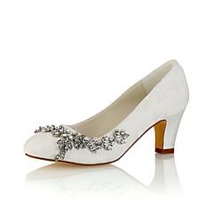 Női Cipő Streccs szatén Tavasz   Ősz Magasított talpú Esküvői cipők  Vaskosabb sarok Kerek orrú Kristály Fehér   Világosbarna   Kristály 1c59c9356d
