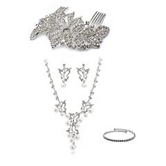 cheap Jewelry Sets-Women's Rhinestone Imitation Diamond Jewelry Set Body Jewelry 1 Necklace Earrings - Fashion European Spiders White Hair Combs Bridal