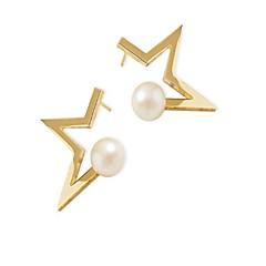 billige Fine smykker-Dame Smuk Stjerne Kvadratisk Zirconium / Imiteret Perle Imiteret Perle / Zirkonium / Guldbelagt Stangøreringe - Mode Guld / Sort Øreringe