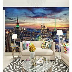cheap Wall Art-3D City View Custom Large Wall Covering Mural Wallpaper Fit Restaurant TV Background City