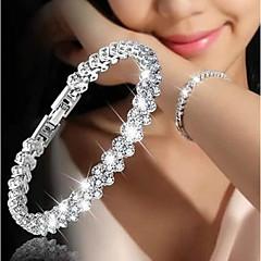 billige -Dame Kvadratisk Zirconium Kæde & Lænkearmbånd - Mode Koreansk Cirkelformet Sølv Armbånd Til Gave Stævnemøde