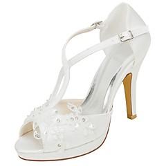 olcso -Női Cipő Streccs szatén Nyár Magasított talpú Esküvői cipők Tűsarok Köröm Gyöngy mert Ruha Party és Estélyi Kristály
