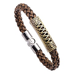 cheap -Men's Bangles , Vintage Fashion Leather Alloy Circle Line Jewelry For Daily School