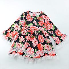 baratos Roupas de Meninas-Menina de Vestido Diário Para Noite Floral Todas as Estações Poliéster Manga Longa Fofo Boho Vermelho