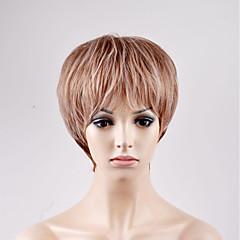 billiga Peruker och hårförlängning-Syntetiska peruker Dam / Par Rak Brun Bob-frisyr Syntetiskt hår Brun Peruk Korta Utan lock Beige