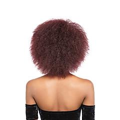 billiga Peruker och hårförlängning-Syntetiska peruker Afro Kinky / Kinky Curly Syntetiskt hår Svart Peruk Dam Korta Naturlig peruk Utan lock