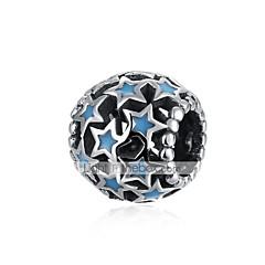baratos Miçangas & Fabricação de Bijuterias-Jóias DIY 1 pçs Contas Prateado Azul Bola Estrela Bead 1 cm faça você mesmo Colar Pulseiras