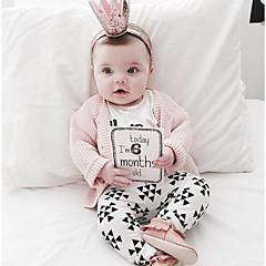 billige Babytøj-Baby Pige Tøjsæt Daglig Trykt mønster, Bomuld Forår Langærmet Normal Hvid