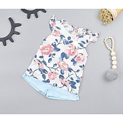billige Sett med babyklær-Baby Pige Gade Blomstret Uden ærmer Bomuld Tøjsæt