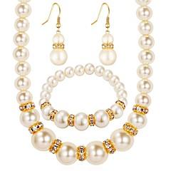billige Smykke Sett-Dame Dråpeøreringer Halskjede Imitert Perle Syntetisk Diamant Klassisk Mote Daglig Imitert Perle Fuskediamant Legering Ball 1 Halskjede 1