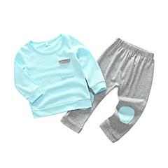 billige Sett med babyklær-Baby Pige Simple / Afslappet Daglig Ensfarvet Langærmet Bomuld Tøjsæt Lyserød 90