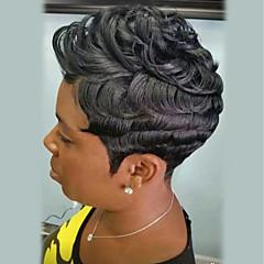 billige Lågløs-Human Hair Capless Parykker Menneskehår Krøllet Pixie frisure Afro-amerikansk paryk Kort Maskinproduceret Paryk Dame