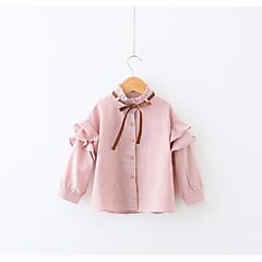 billige Hættetrøjer og sweatshirts til piger-Baby Pige Simple Ensfarvet Langærmet Bomuld / Polyester Skjorte Lyserød 100