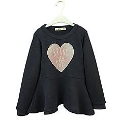 billige Hættetrøjer og sweatshirts til piger-Pige Hættetrøje og sweatshirt Ensfarvet, Bomuld Forår Efterår Langærmet Skjørte/Bukser Marineblå