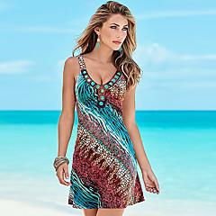 Damen Boho A-Linie Kleid - Druck, Einfarbig V-Ausschnitt