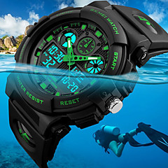 cheap Men's Watches-SKMEI Men's Wrist Watch Digital Watch Japanese Quartz Quilted PU Leather Black 50 m Water Resistant / Waterproof Alarm Calendar / date / day Analog - Digital Fashion - Red Green Blue Two Years
