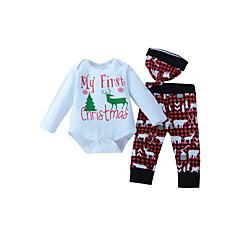 billige Tøjsæt til drenge-Baby Unisex Afslappet / Aktiv Ferie Ruder / Dyr Langærmet Bomuld Tøjsæt