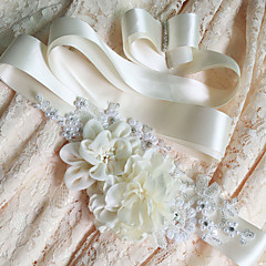 cheap -Satin Wedding Special Occasion Sash With Floral Pearlised Crystals/Rhinestones Women's Sashes