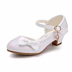 Para Meninas Sapatos Glitter / Couro Ecológico Primavera / Outono Conforto / Sapatos para Daminhas de Honra / Salto minúsculos para Adolescentes Saltos para Dourado / Branco / Rosa claro