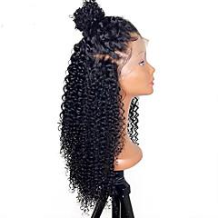 billiga Peruker och hårförlängning-Äkta hår Spetsfront Peruk Brasilianskt hår Rak / Kinky Curly 130% Densitet Naturlig hårlinje / Afro-amerikansk peruk / 100% Jungfru Dam Korta / Mellan / Lång Äkta peruker med hätta / Sexigt Lockigt