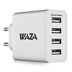 cheap Tablet Accessories-WAZA 25W Wall Charger 4-Port Output Travel Charger 2.4A Max Smart Output Each Port For iPhone, Galaxy, LG, Piexl, Moto etc.