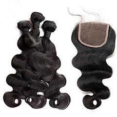 preiswerte Haarverlängerungen in natürlichen Farben-Brasilianisches Haar Große Wellen Haar-Einschlagfaden mit Verschluss Menschliches Haar Webarten Natürlich Schwarz