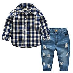 billige Tøjsæt til drenge-Drenge Simple Ensfarvet / Ruder Langærmet Bomuld Tøjsæt