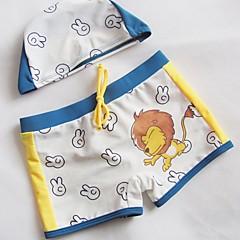 billige Badetøj til drenge-Drenge Trykt mønster Badetøj, Polyester Hvid