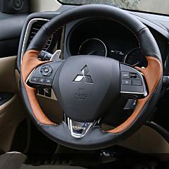 billige Rattovertrekk til bilen-Rattovertrekk til bilen ekte lær 38 cm Brun / Svart / Rød For Mitsubishi Outlander 2016 / 2017