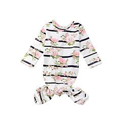 billige Sweaters og cardigans til piger-1 Baby Unisex Stribet / Blomstret Langærmet Lang Lang Bomuld Nattøj / Sødt