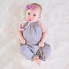 billige Babytøj-Baby Pige Simple / Vintage Daglig Ensfarvet Kort Ærme / Uden ærmer Bomuld / Hør / Bambus Fiber Overall og jumpsuit Lyserød