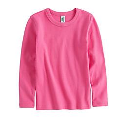 billige Pigetoppe-Baby Pige Simple Ensfarvet Langærmet Bomuld T-shirt Gul