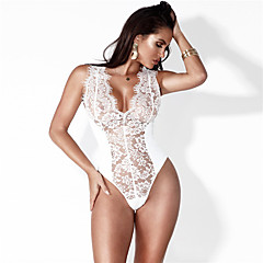 Damen Bodysuit - Spitze, Volltonfarbe Tiefes V