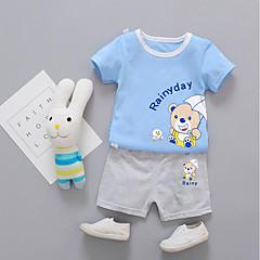 billige Tøjsæt til drenge-Unisex Daglig Trykt mønster Tøjsæt, Bomuld Sommer Kortærmet Afslappet Blå Lyserød Gul