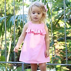 billige Babykjoler-Baby Pige Simple / Vintage Daglig Ensfarvet Uden ærmer Normal Normal Uld / Bomuld / Hør Kjole Lyserød / Bambus Fiber