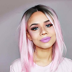 cheap Wigs & Hair Pieces-Synthetic Lace Front Wig Women's Straight Pink Bob Synthetic Hair Ombre Hair / Highlighted / Balayage Hair / Updo Pink Wig Medium Length Lace Front Black / Pink
