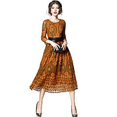 Damen Alltag Ausgehen Anspruchsvoll Hülle Spitze Midi Kleid, Spitze Einfarbig Rundhalsausschnitt Langarm