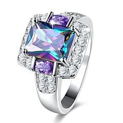 cheap Rings-Women's Band Ring Synthetic Amethyst Rhinestone 1pc Titanium Circle Classic Vintage Elegant Wedding Party Daily Costume Jewelry