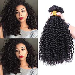 お買い得  人毛つけ毛-3バンドル ブラジリアンヘア Kinky Curly レミーヘア 人間の髪編む 8-28 インチ 人間の髪織り 人間の髪の拡張機能 / その他の特徴カーリー