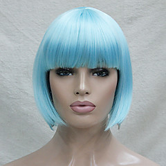 cheap Wigs & Hair Pieces-quality synthetic hair light blue anime cosplay costume short bob wig Halloween