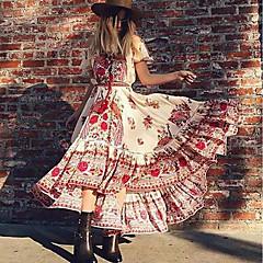 Damen Swing Kleid - Quaste, Blumen Maxi Trägerlos