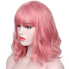 cheap Wigs & Hair Pieces-Synthetic Wig Women's Water Wave Pink With Bangs Synthetic Hair Natural Hairline / With Bangs Pink Wig Short Capless Pink