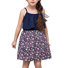 baratos Roupas de Meninas-Menina de Vestido Diário Sólido Primavera Algodão Linho Fibra de Bamboo Acrílico Manga Longa Simples Azul Real