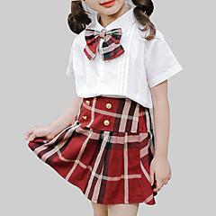 billige Tøjsæt til piger-Pige Tøjsæt Daglig Skole Ternet, Rayon Sommer Kortærmet Afslappet Gade Hvid