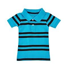 baratos Roupas de Meninos-Para Meninos Camiseta Diário Feriado Listrado Verão Algodão Manga Curta Simples Azul