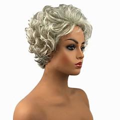 tanie Peruki syntetyczne-Peruki syntetyczne Kędzierzawy Fryzura Pixie Gęstość Bez czepka Damskie Biały Celebrity Wig Peruka naturalna cosplay peruka Krótki Włosy
