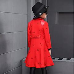 billige Jakker og frakker til piger-Pige Jakke og frakke Daglig Skole Blomstret Trykt mønster, Kashmir Bomuld Vinter Forår Langærmet Simple Vintage Sort Rød